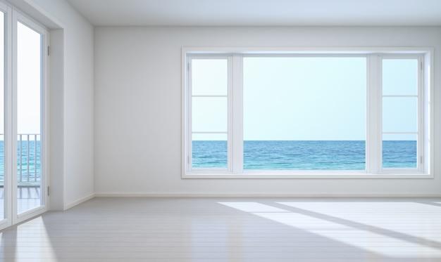 Habitación vacía vista al mar con trazado de recorte