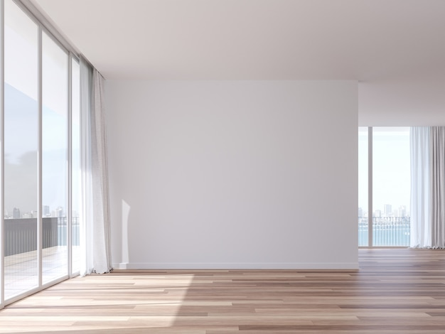 Habitación vacía con vista a la ciudad costera render 3d hay ventanas blancas con vista a la bahía