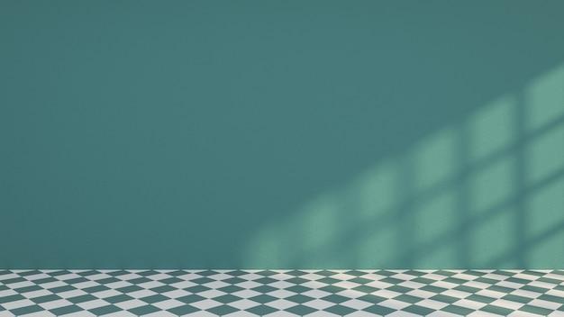 Habitación verde vacía con piso de patrón verde y blanco