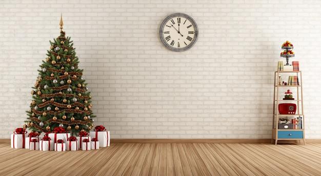 Habitación vintage con árbol de navidad