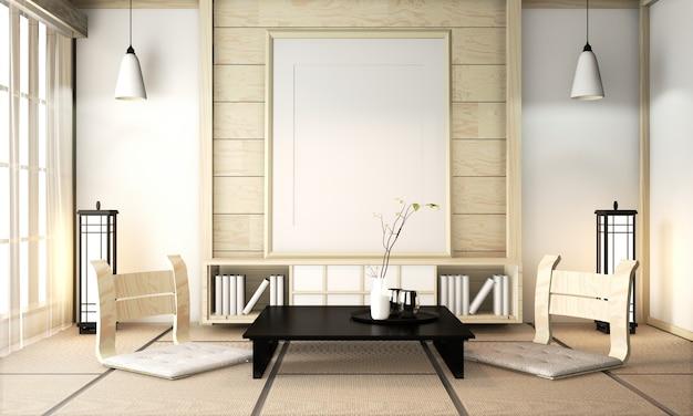Habitación zen interior de pared de madera sobre suelo de tatami con marco de póster, mesa baja y sillón. renderizado 3d