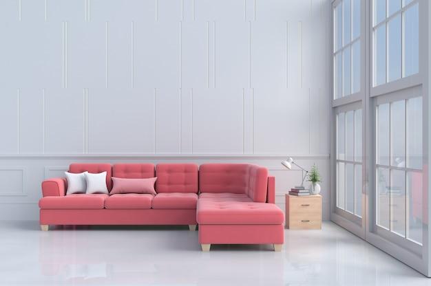 Habitaciones de amor en el día de san valentín. decoración rojo - sofá rosa, mesita de noche de madera, ventana. 3d re