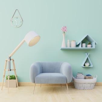 Las habitaciones son de color azul brillante en un sillón y muchas decoraciones.