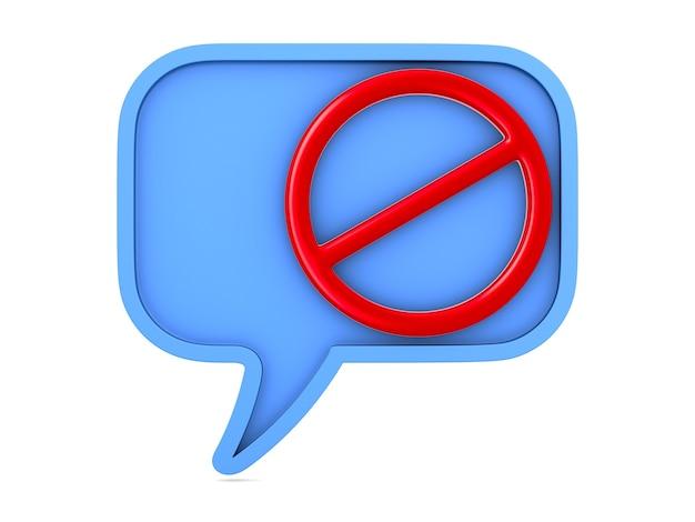Hablar burbuja azul y signo prohibido en blanco