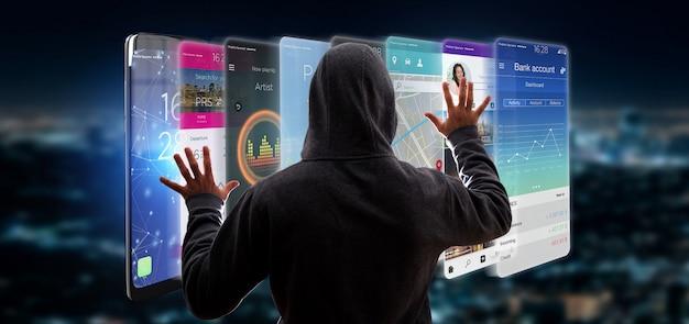 Hacker activando plantilla de aplicación en un teléfono inteligente
