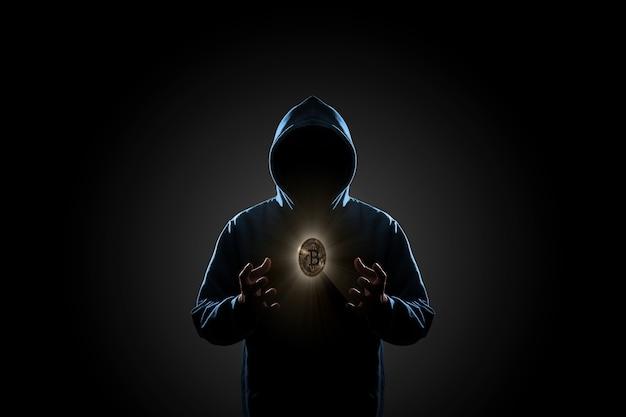 Hacker en concepto de fondo oscuro