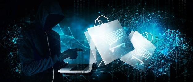 Hacker realiza compras en línea a través de la piratería en un azul