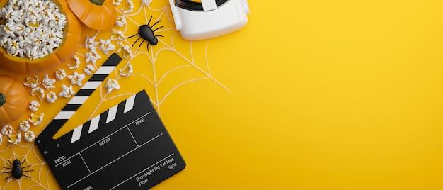 Halloween experiencia virtual película vr gafas claqueta tablero palomitas de maíz araña fondo amarillo