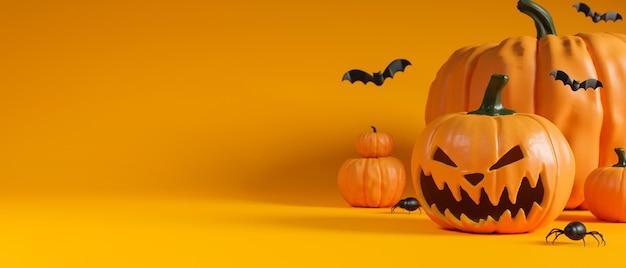Halloween sonriendo calabazas y murciélagos sobre fondo amarillo con espacio de copia representación 3d ilustración 3d