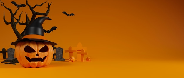 Halloween sonriendo calabazas con sombrero de bruja, murciélagos y árbol seco en el fondo copia espacio 3d rendering
