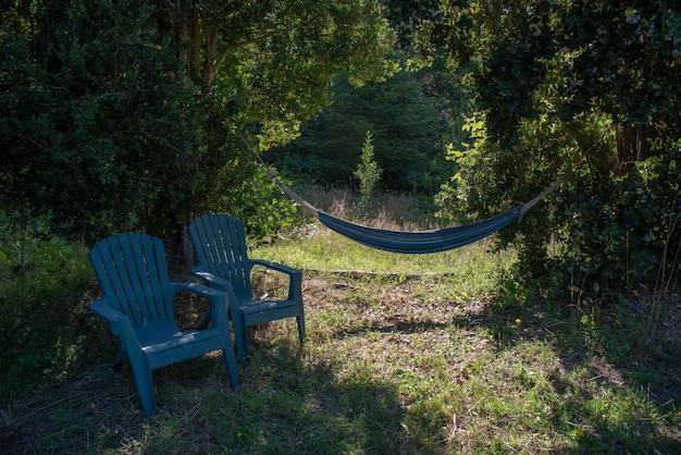 Hamaca azul adjunta a árboles con sillas de plástico azul en el lateral de un bosque verde