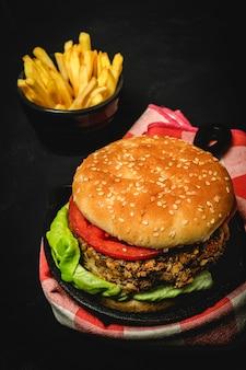 Hamburguesa casera de lentejas veganas