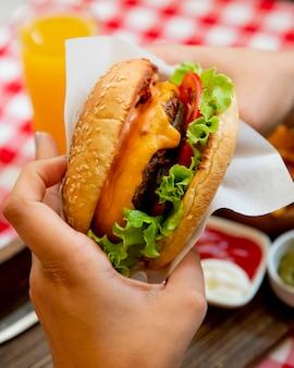 Hamburguesa con lechuga tomates y queso