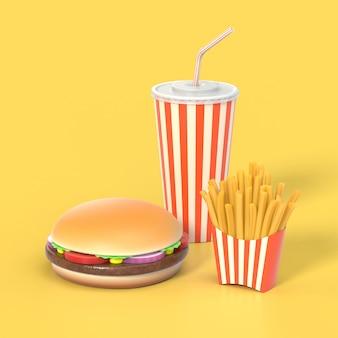 Hamburguesa, papas fritas y comida rápida de cola