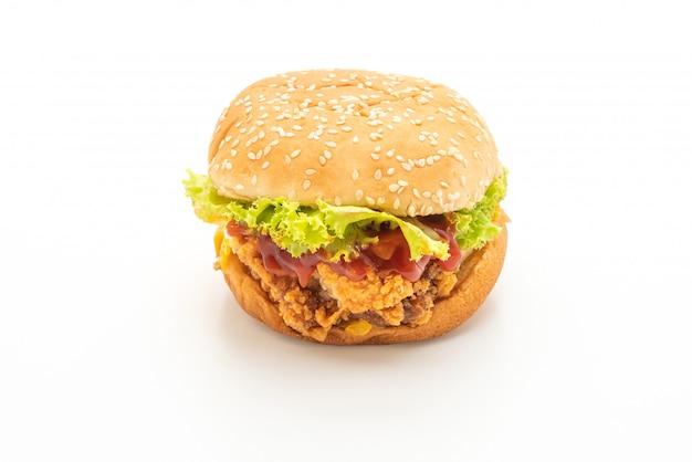 Hamburguesa de pollo frito aislado