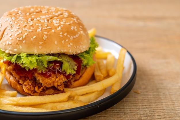 Hamburguesa de pollo frito