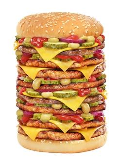 Hamburguesa con queso muy grande con empanada de ternera, pepinillos, queso, salsa de tomate, cebolla y mostaza aislado sobre fondo blanco.