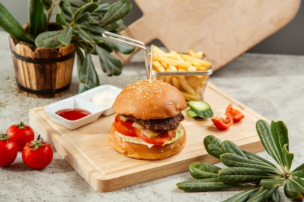 Hamburguesa servida con papas fritas y salsa de tomate