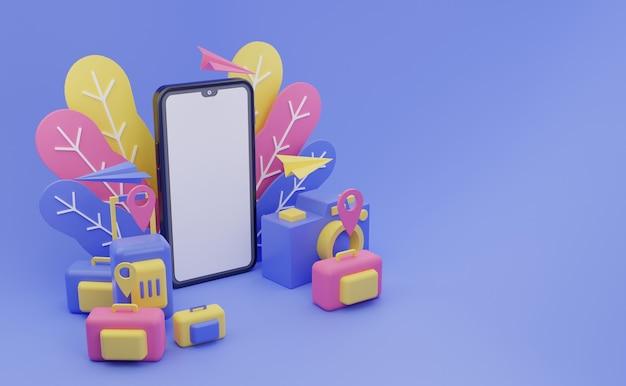 Handphone colorida aplicación de viaje 3d ilustración con fondo de pantalla de espacio en blanco