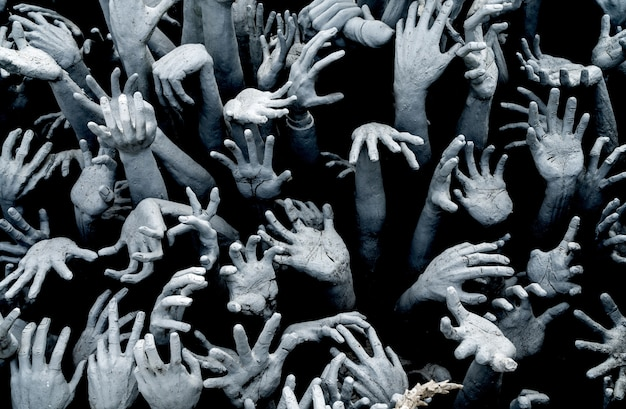 Hands from hell - horror background zombie breakout.