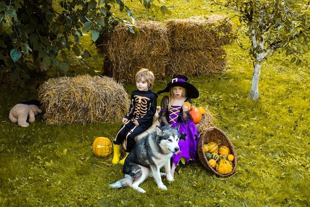 Happy halloween trickortreat child concept niños en américa celebran halloween niños lindos wea ...
