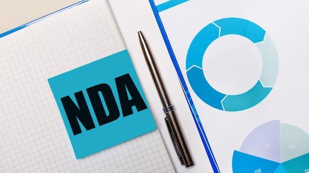 Hay un bolígrafo entre la nota adhesiva azul con el texto acuerdos de confidencialidad de nda y el gráfico azul