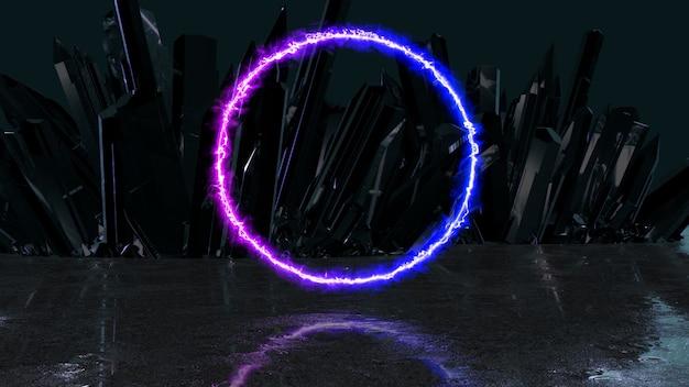 Haz de energía de neón en forma de círculo sobre un fondo de cristales, ilustración 3d