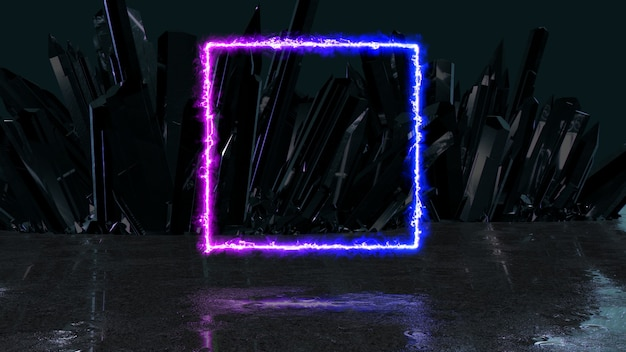 Haz de energía de neón en forma de cuadrado sobre un fondo de cristales, ilustración 3d