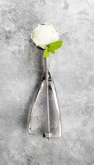 Helado de menta en cuchara