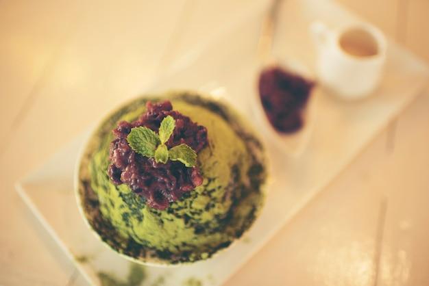 Helado de té verde macha