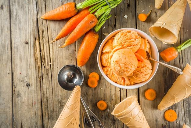 Helado vegano de zanahoria