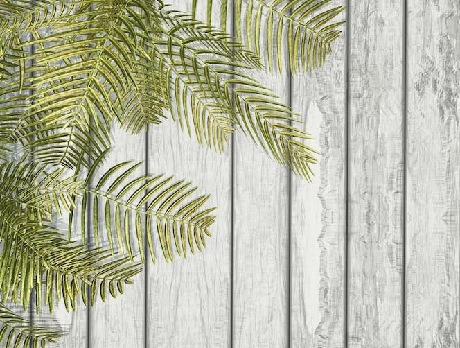 Helecho 3d deja en una textura de madera blanca