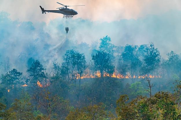 Helicóptero arrojando agua sobre incendios forestales