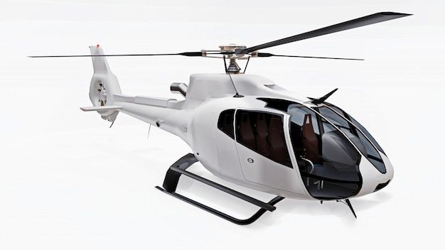 Helicóptero blanco aislado en el fondo blanco