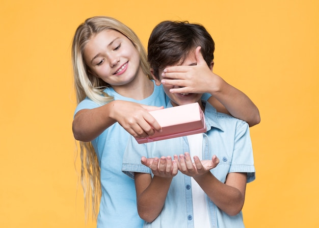 Hermana sorprendente hermano con regalo