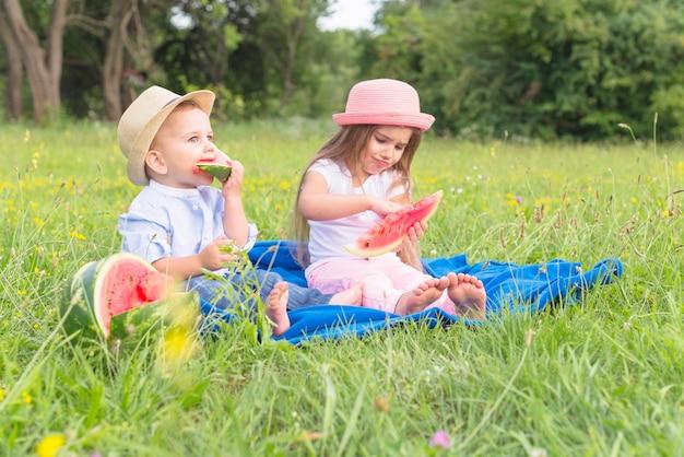 Hermano y hermana sentados en una manta azul sobre hierba verde comiendo sandía