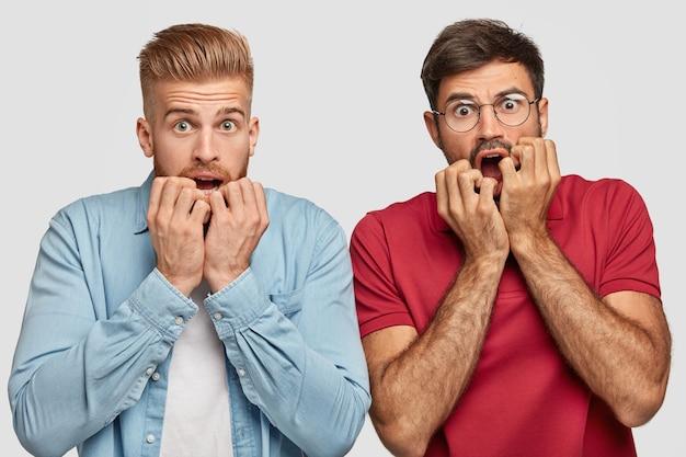 Hermanos barbudos asustados nerviosos posando contra la pared blanca