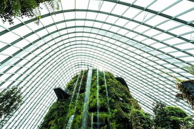 Hermosa arquitectura edificio jardín de cúpula de flores y bosque de invernadero para viajar