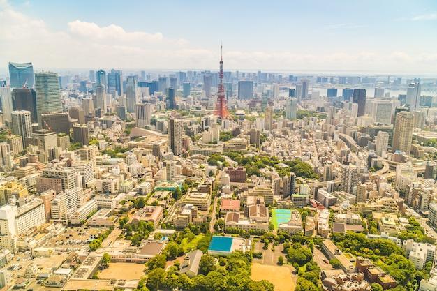 Hermosa arquitectura que construye la ciudad de tokio con la torre de tokio