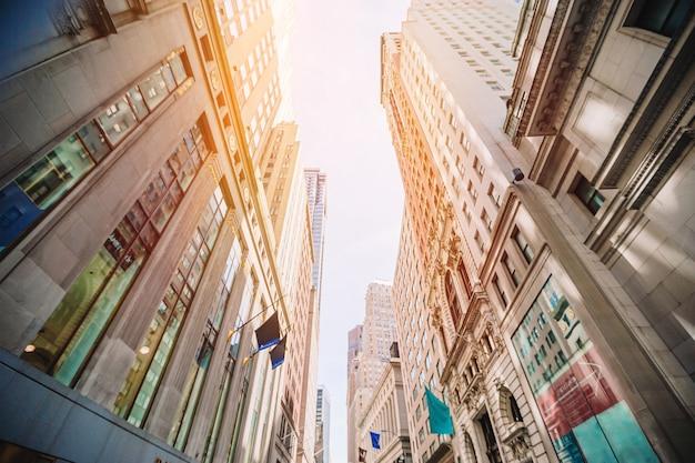 Hermosa calle de la ciudad de nueva york y américa