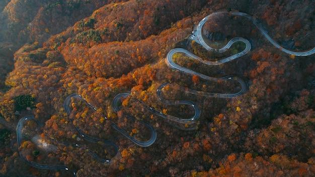 Hermosa calle con curvas en la montaña nikko, japón. vista aérea