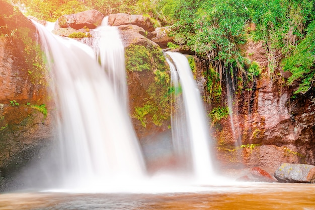 Hermosa cascada con luz solar en la selva