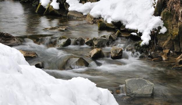 Hermosa cascada de montaña cubierta de hielo