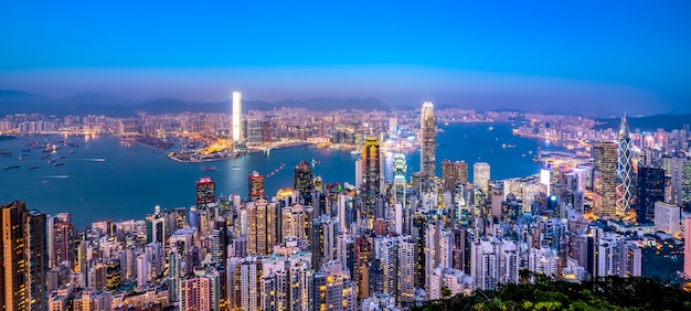Hermosa ciudad horizonte de hong kong, china
