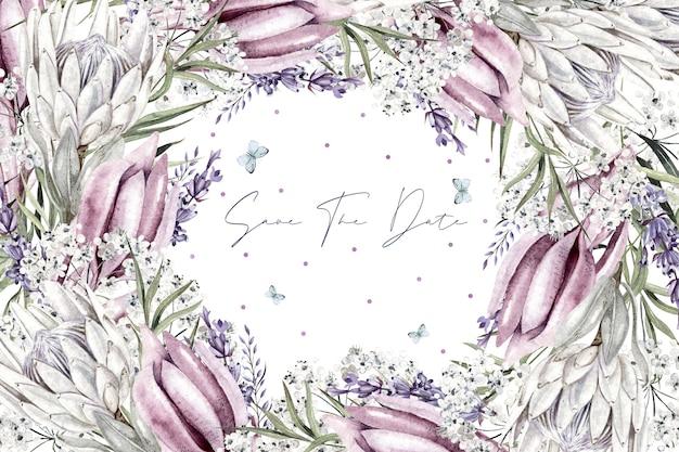 Hermosa corona de acuarela con flor blanca gypsophila