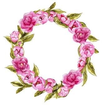 Hermosa corona floral con peonías acuarelas