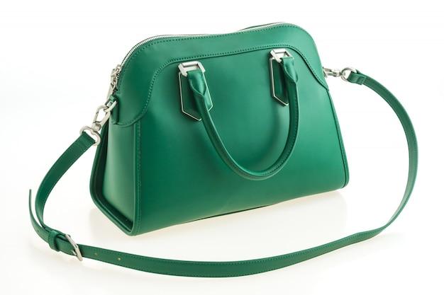 Hermosa elegancia y lujo moda bolso verde.