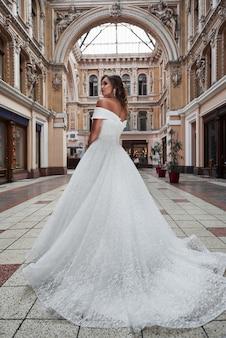 Hermosa y elegante novia con un vestido de novia perfecto, posa alrededor de una bella arquitectura.