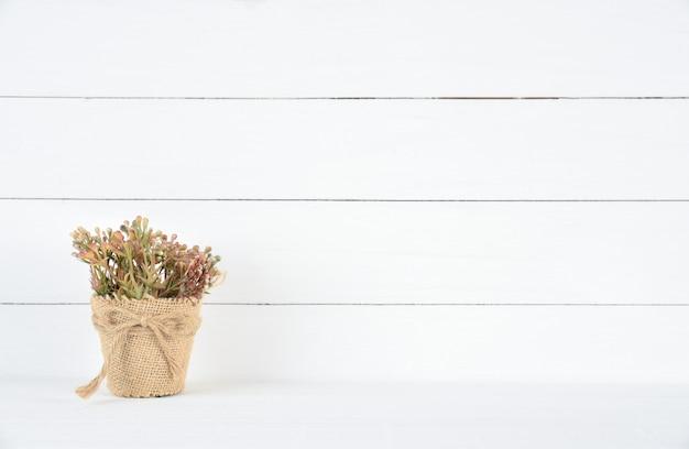 Hermosa flor marrón en una olla sobre fondo de madera blanco
