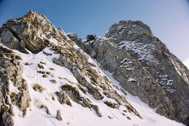 Hermosa foto de altas montañas rocosas cubiertas de nieve